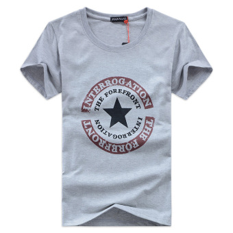 Latest men s t-shirts tops korean student clothes male summer cotton short sleeve t-shirt (Gray)