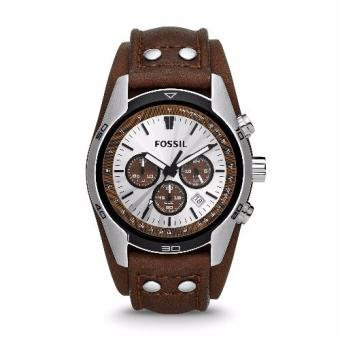 Harga Fossil Cuff Chronograph Leather Watch – Tan CH2565