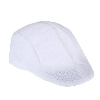 Mens Vintage Flat Cap Peaked Racing Hat Beret Country Golf Newsboy(White)