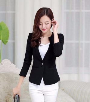 Harga 2017 Spring Women Slim Blazer Coat New Fashion Casual Jacket Long Sleeve One Button Suit Ladies Blazers (black) - intl