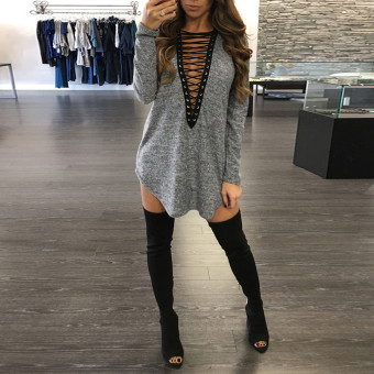Harga ZANZEA Spring Long Sleeve Lace Up Women Sexy Mini Dress Loose Casual Solid Dress Bandage V-Neck Long Blouses Tops Vestidos (Grey) - intl