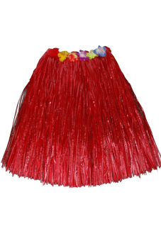 Hawaiian Tropical Hula Luau Grass Dancer Skirt 40cm Red