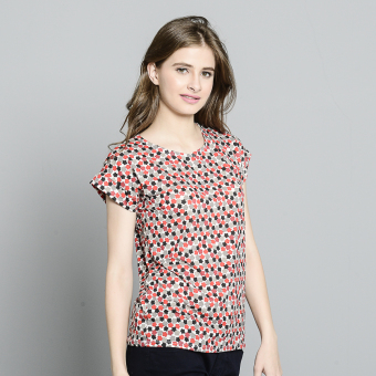 Harga Stamped Zayda Casual Printed Top (Red Black Flower)