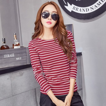 Harga Women's Fashion Korean New Stripes T-shirt Ladies Long-sleeved O-neck Tops Bottoming Clothing (Wine red) - intl
