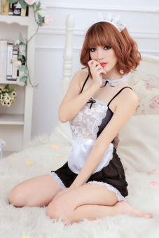 Harga Gracefulvara Sexy Women Halloween Costume Maid Lingerie Cosplay Fancy Dress Nightgown + G-string (EXPORT)