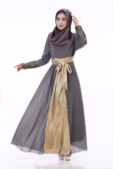 EGC Fashion Women Chiffon Dress Muslim Spinning long sleeved dress(Grey)