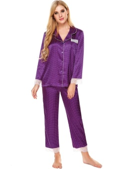 Harga Azone Womens Long Sleeve Lace Patchwork Slim Sleepwear Turn Down Collar Nightwear Pajamas Set ( Purple ) - intl