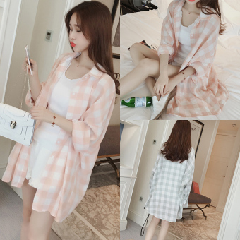 Harga Summer small fresh korean fan sun shirt was thin loose long sleeved plaid shirt and long sections coat female cardigan (Green)