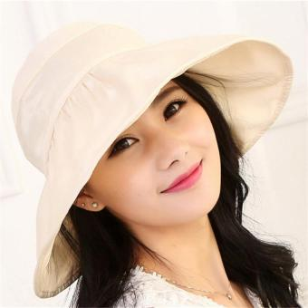 Harga Womens Light Foldable Roll Up Wide Brim Anti UV Waterproof Sun Hat Visor Cap(Beige) - intl