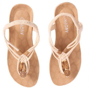 HengSong Women Summer Sandals Casual Beach Shoes Beige