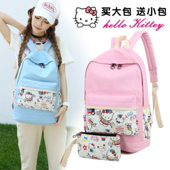 Harga Hello kitty canvas shoulder bag female korean institute of wind of middle school students high school students travel backpack printing (Pink)