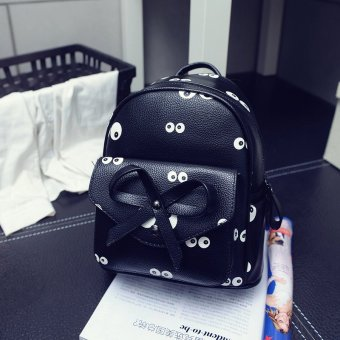Harga 2017 boutique shoulder bag cheap ladies casual bow decoration small double back double back backpack tide stereotypes handbags (XM1520 # black small eyes)