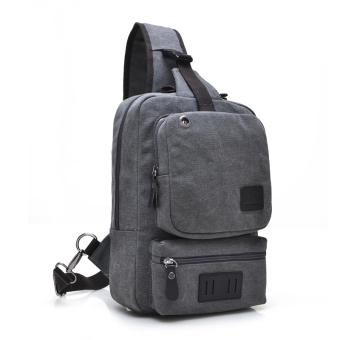 Harga Large capacity man bag casual men's chest pack canvas bag man bag diagonal retro motorcycle bag british institute of wind tide (Gray)