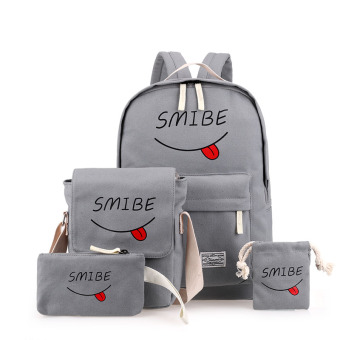 Harga Shoulder bag female korean institute of wind canvas bag fashion wild influx of female high school students casual shoulder travel bag (Gray)