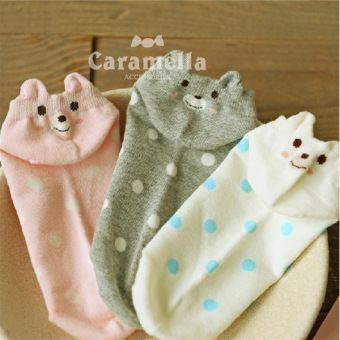 Harga 6 pair cute cartoon bear polka dot socks cotton socks summer socks invisible socks sock shallow mouth socks