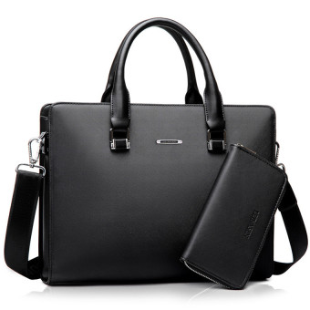 Harga Men Business Tote Bag Men's Single Shoulder Bag Wear-resisting Briefcase (Black / + One Clutch)