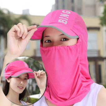 Harga Summer uv cycling sun hat travel cap sun hat sun hat folding hats for men and women (Limited edition-rose)