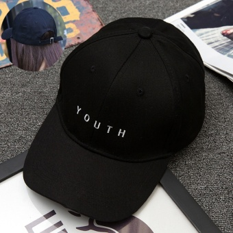 Harga Ms. visor cap child hat New style Korean-style letter embroidery men casual fashion sun visor hip hop baseball cap (You iron buckle black XB598)