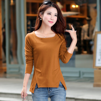 Harga 2017 spring korean version of the new women's spring wild bottoming shirt long sleeve t-shirt fashion cotton clothes tide (Mustard yellow)