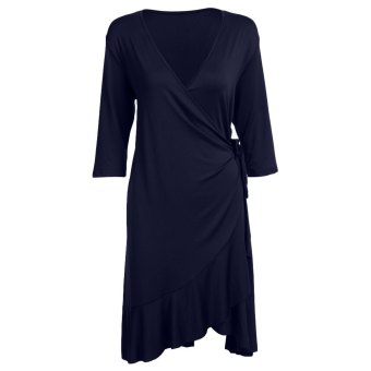 Harga Women Wrap Dress V-Neck Solid Color Plus Size (Deep Blue) - intl