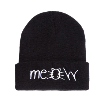 MEOW Cap Winter Casual Hip Hop Knitted Wool Skullies Beanie Hat (Black)