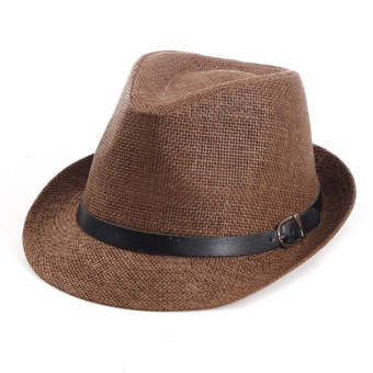 England men's spring and summer sun hat linen jazz hat sun hat beach hat travel beach hat straw hat korean version of the (Coffee color)