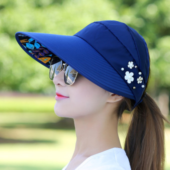 Harga Covering her face cap travel sun hat female summer outdoor folding sun hat uv sun hat (Leaves pearl-navy blue)