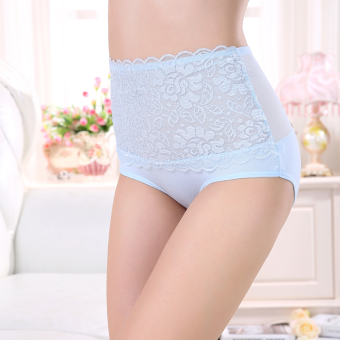 High waist lace underwear female sexy abdomen Plus-sized bamboo fiber breathable triangle pants Plus-sized seamless underwear female (Light blue)
