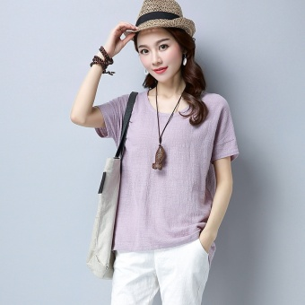Harga 2017 summer Linen New style national wind elegant pleated Women's loose round neck casual wild minimalist Top female (Light purple)