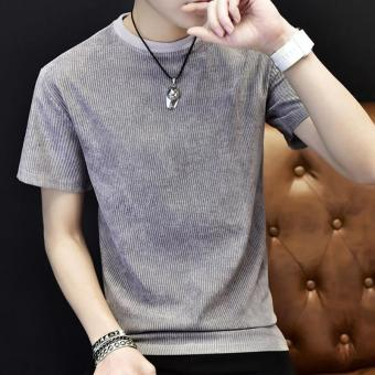 Men's Fashion Short Sleeve O-neck Casual T-Shirts Grey - intl