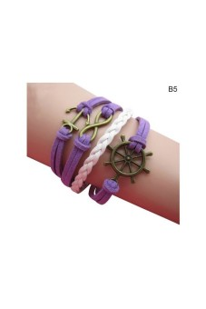 Harga Women Multilayer Bracelet Hollow Cuff Purple