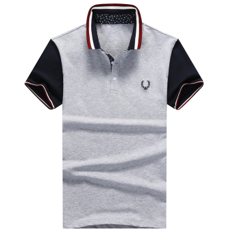Harga Men's new fashion slim Short-Sleeved POLO shirt with Fred Perry logo (GRAY) - intl