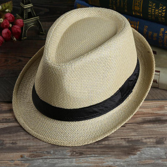 Unisex Summer Beach Jazz Hat Wide Brim Beach Cap Sun Trilby Fedora Straw Hat-Deep Beige