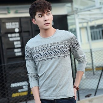 Spring korean version of the influx of young men's round neck bottoming shirt printing t-shirt long sleeve t shirt cotton long sleeve t-shirt men (Gray)