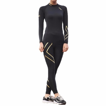 Harga Hequ New Chic High Quality Women Compression Long Sleeve O-Neck Sports Tight T Shirts Fast Drying Fitness GYM Base Layer Tops Gold - intl