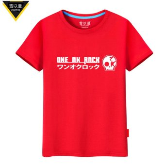 Harga Snow in order to diffuse oor japan one ok rock rock band around the summer men and women cotton short sleeve t-shirt men (Red)