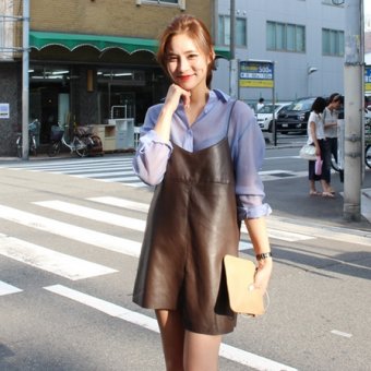 Harga Cool Leather is not rule at hem sling Dungaree dress
