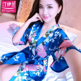 Harga Kimono robe bathrobe tracksuit silk pajamas female summer short sleeve lace sleeve sexy korean version of the new thin section (Gown peacock-blue version2)