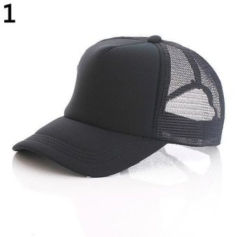 Harga Bluelans Attractive Baseball Cap Trucker Mesh Visor Adjustable Hat (Black) - intl