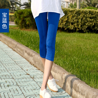 Harga Yoga pant female summer candy color leggings slim thin section was thin outer wear large size ice silk in 7 hours shorts (Navy blue)