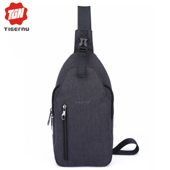 Harga Tigernu Brand Size M Waterproof Oxford Fabric Sling Phone Crossbody BagT-B8027M(Black grey)