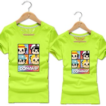 Harga Digital lovers couple short sleeve t-shirt spring new female personality compassionate summer influx of beach lovers (Bright green)
