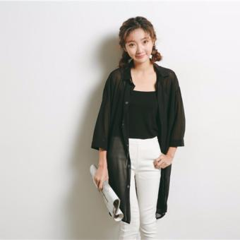 Harga Chiffon Long Cardigan-Black
