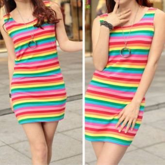 Women's striped pure cotton sleeveless tank dress