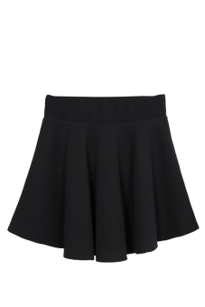 Lady's Sexy Stretch Waist Plain Skater Flared Pleated Mini Skirt (Black)