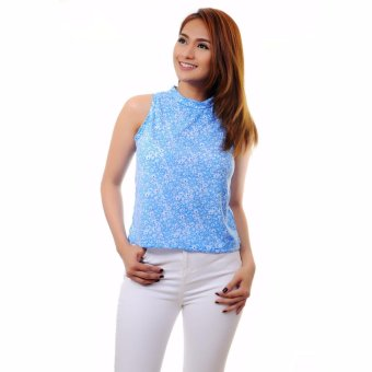 Harga Stamped Longback Casual Printed Top (Blue Flowers)
