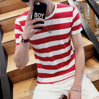 Harga Wind sen summer new korean men short sleeve t-shirt sleeve shirt student influx of japanese teenagers on clothes (T524--red stripe)