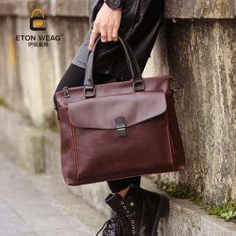 Harga Tidog Crazy Horse Leather Briefcase New Business Men Retro British Korean Shoulder Bag Tote Bag