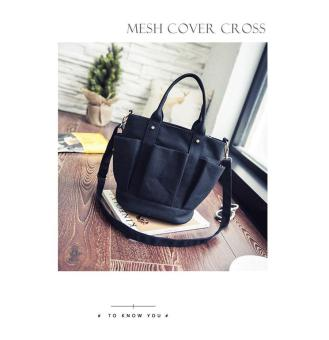 Harga Canvas Two Way Buckle Bag LB-CF06-BLACK