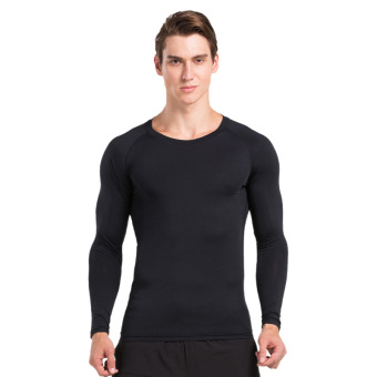 Harga VANSYDICAL Men's Plus Size High Elasticity Quick-dry Base Layer Compression Shirt Sports Fitness Tight Clothes Long Sleeve T-shirt(Pure Black)